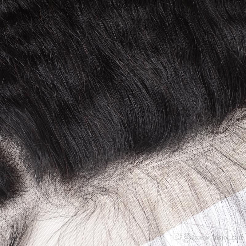 لحمة الشعر البشري مع إغلاق 13x4 أمامي الأذن إلى الأذن الشعر الهندي الطبيعي غير المجهزة غريب مستقيم ياكي الشعر نسج 3 حزم أمامي