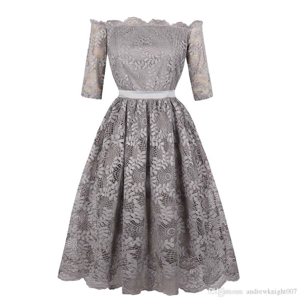 88f9d7951f24 2019 Women Bowknot Lace Dress Plus Size S 4XL Slash Neck Floral Print Half  Sleeve Pleated Knee Length Solid New Party Dresses Elegant DK3070MX From ...