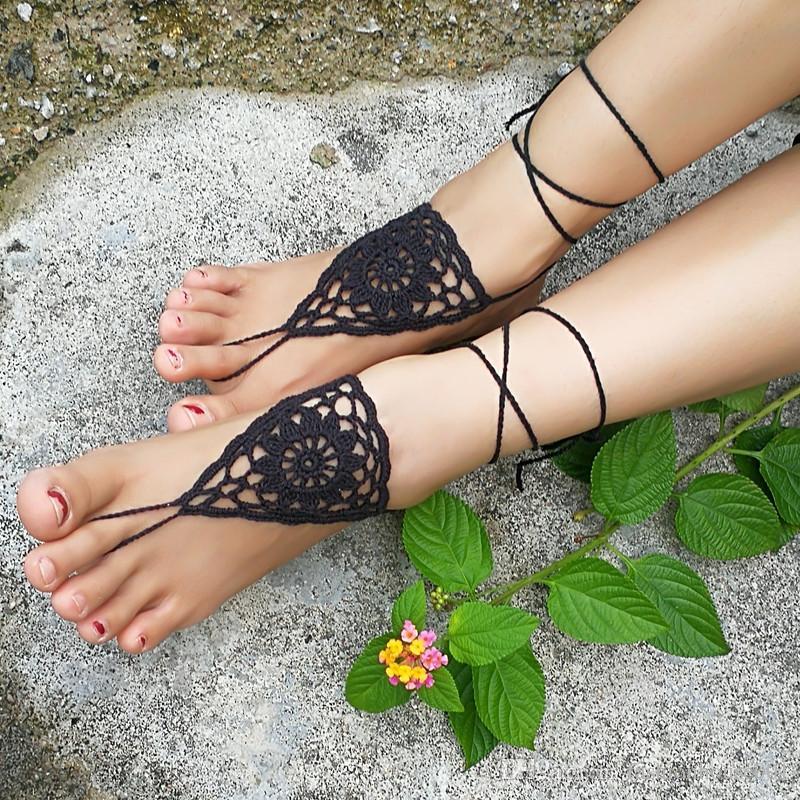 Häkeln Sie weiße barfuß Sandalen Nude Schuhe Fuß Schmuck Strand tragen Yoga Schuhe Braut Fußkette Braut Strand Zubehör weiße Spitze Sandalen S202