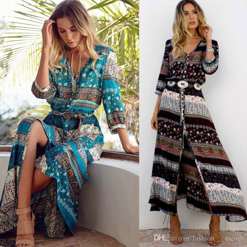 c0379b4c31702 2018 New Women Summer Boho Beach Maxi Dress Sexy V Neck Vintage Print Long  Dresses Casual Sundress Dress vestidos Female Split Stylish Style