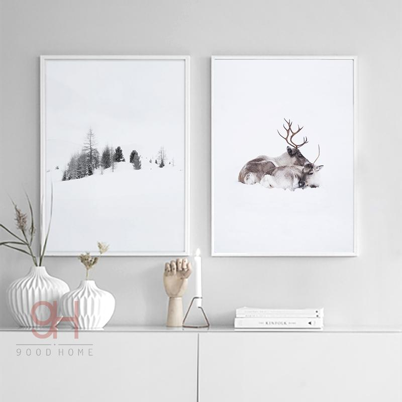 2018 Posters Prints 900D Posters Prints Wall Art Canvas Painting Wall  Pictures Nordic Winner Forest And Deer Picture Decoration NOR019 From ...