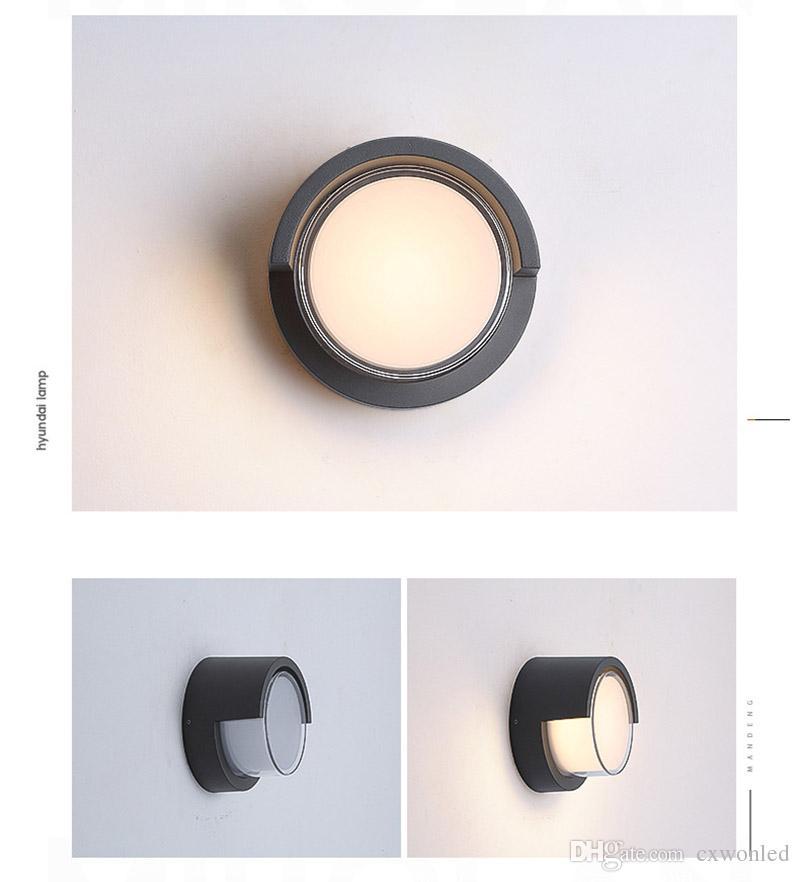 Lampada da parete 10W Lampada da parete esterni Lampada da parete moderna Applique da esterno Lampada da tavolo in alluminio grigio scuro Impermeabile rotonda e quadrata