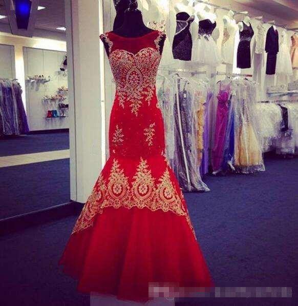 2018 Mermaid Prom Dresses Plus Size Dubai Red New Couple Dress Sheer Crew Neck Gold Lace Appliques Beaded Vestidos De Fiesta Evening Gowns