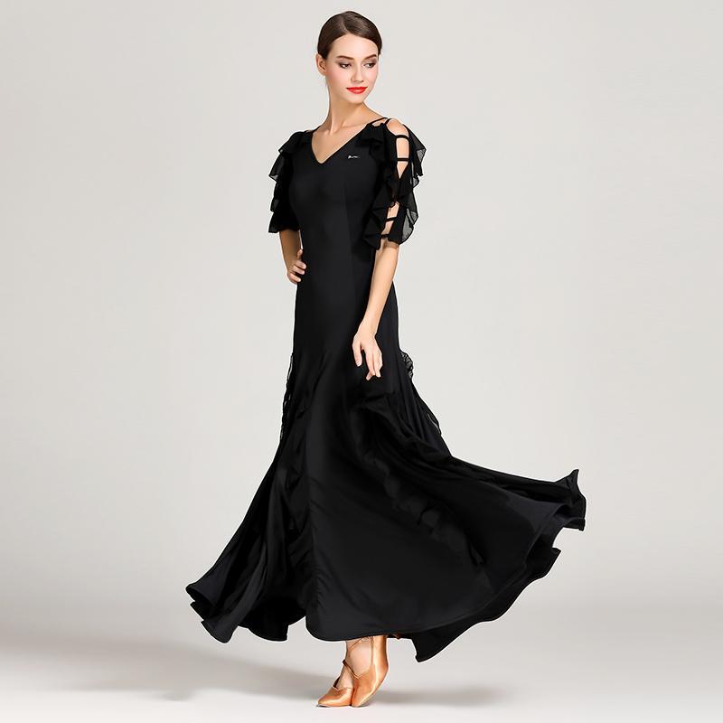 Acquista Abito Da Ballo Donna Vestito Da Ballo Valzer Foxtrot Abbigliamento Da  Ballo Flamenco Spagnolo Abiti Da Ballo Neri Standard Sociale A  84.17 Dal  ... b188769b1fe