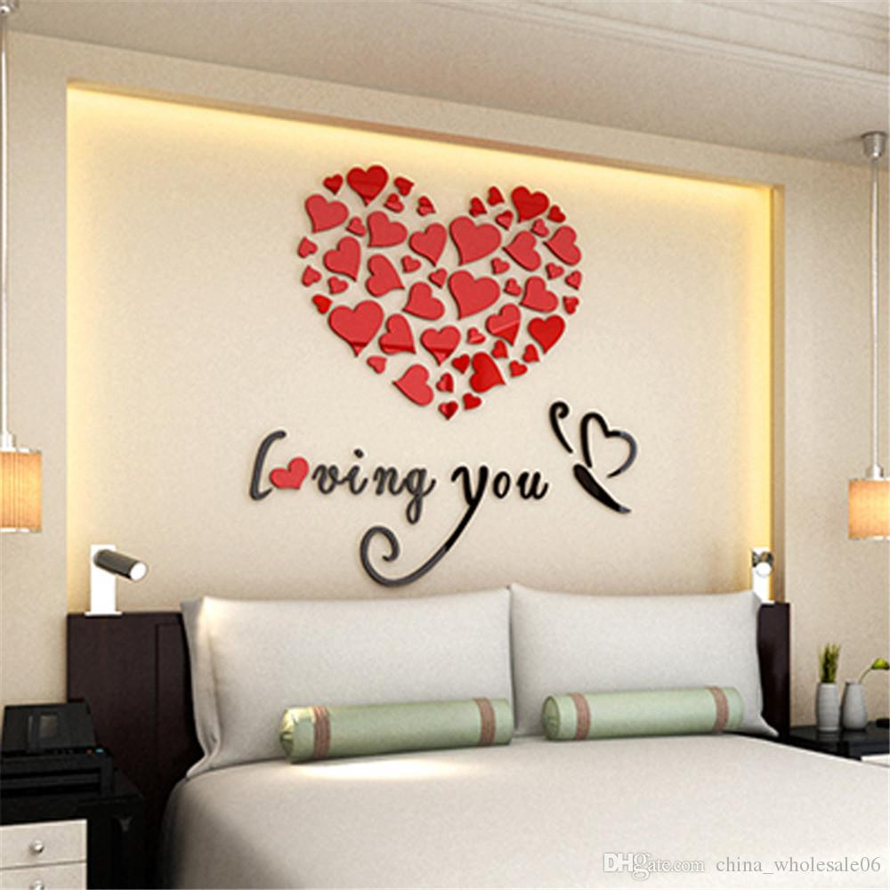 Romantic 3D Mirror wall sticker Wall Stickers Eco-friendly Office Bedroom  Quotes Loving You Home Hotel Decoration Wall Decal