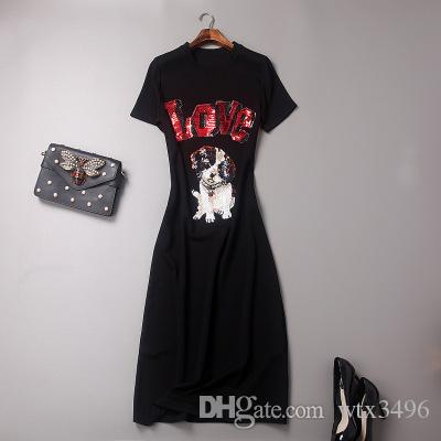 Hard Workmanship Sequins Cartoon Dog And Letter Long Dress Short ...