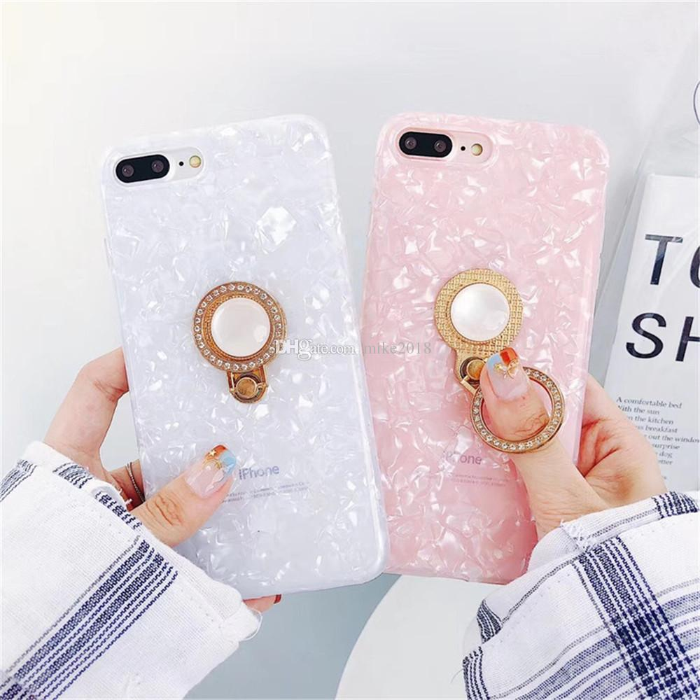 separation shoes 68942 6c83b Luxury Golden Ring Stand Phone Case For iphone 7 Cute Conch Cases For  iphone 6 6s 8 Plus X Back Cover For Girls Lovely Capa