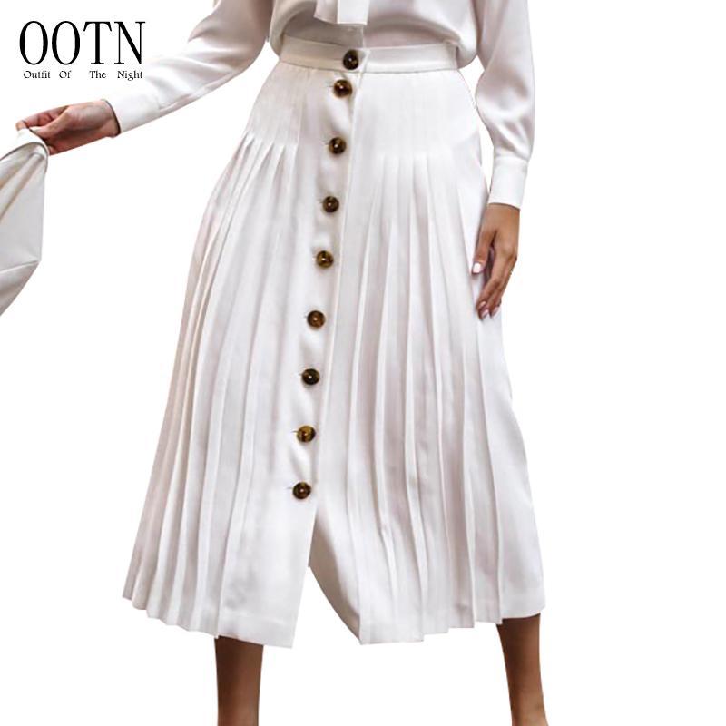 cb936d8245 Compre OOTN Mujeres Falda Larga Fiesta Plisada Falda Blanca De Cintura Alta  Botones Femeninos De Verano Volantes Oficina Verano 2018 Señoras Sólidas A  ...