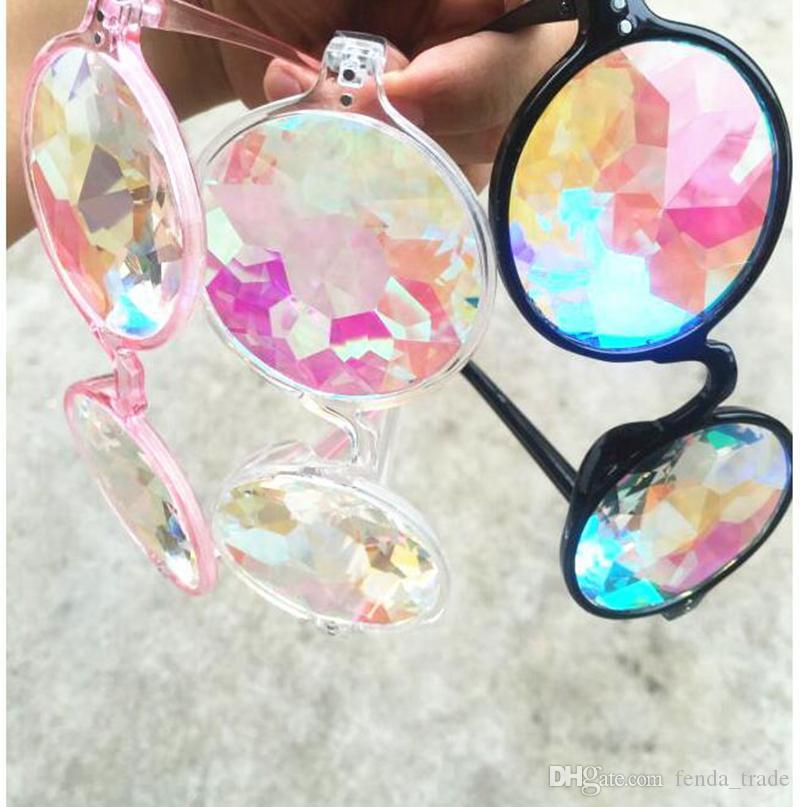 17c6e8adc DISCO FACtory Price WOMEN Fashion Geometric Kaleidoscope Glasses Rainbow  Rave Lens Bling Bling Prism Crystal Party Diffraction Sunglasses Heart  Shaped ...