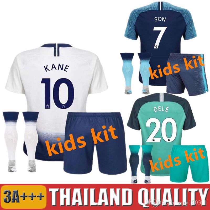 Compre 2017 2018 KANE KIDS Kit Tottenham Spurs Camisas De Futebol 17 18  FILHO Mason Lamela Alli Lloris CRIANÇAS Camisas De Futebol Camiseta DEMBELE  Meninos ... f7a61beb9b0d5