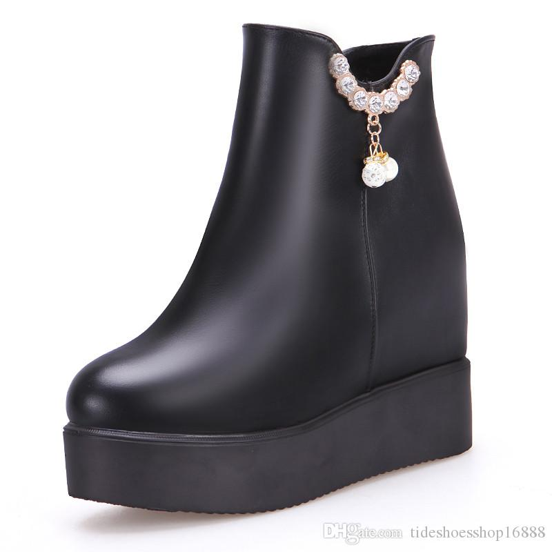Black Winter Women Ankle Boots Platform Wedge Boots Women Zip High Heel  Boots 2018 Autumn Female Crystal Shoes Big Size 33 42 Wedge Boots  Waterproof Boots ... 05c92a2501de