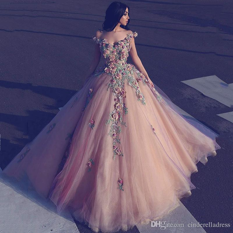 2018 Ball Gown Evening Dresses Off Shoulder V Neck Full 3D-Floral Appliques Beaded With Tulle Floor Length Custom Made Prom Gowns