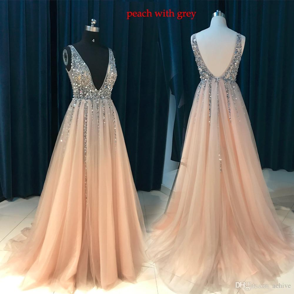 Real Sexy Long Peach Prom Dresses 2018 Deep V Neck Beaded Sequins