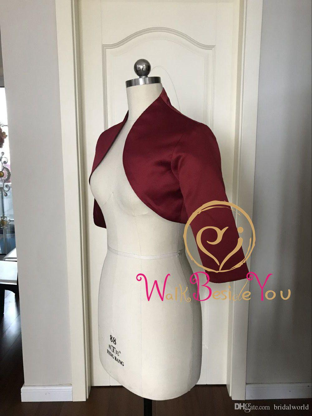 Walk Beside You Burgundy Wedding Jacket Evening Bolero Women Cape Mariage Satin Three Quarter Sleeves Party Wrap Shrug Custom