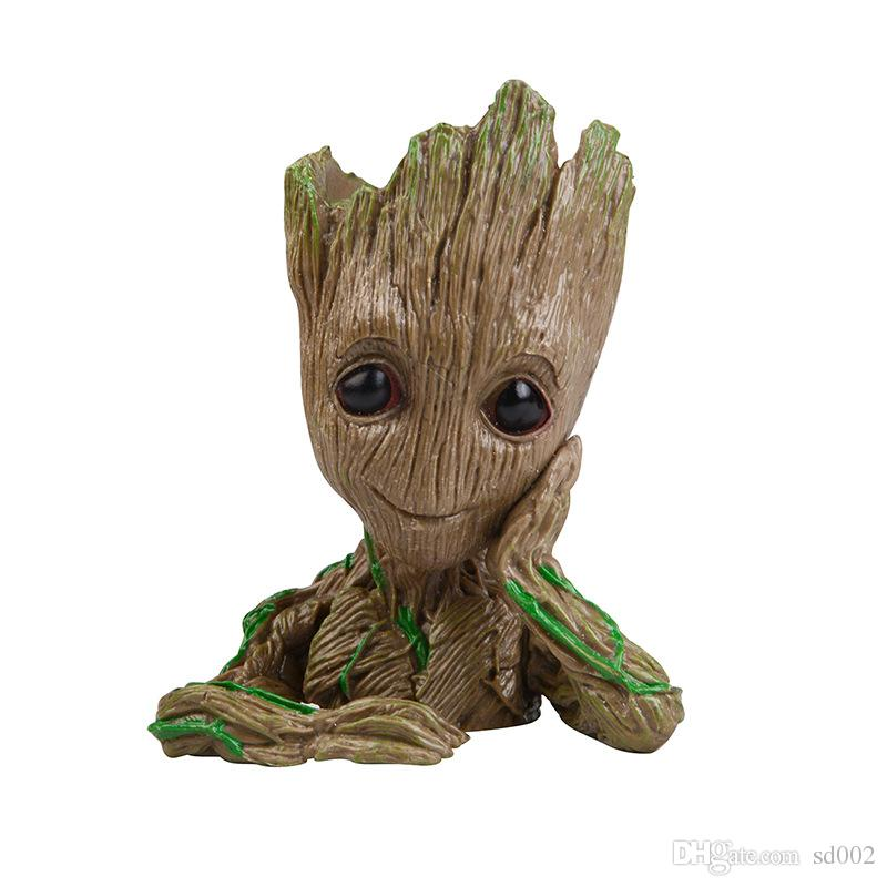 Guardians Of The Galaxy Flower Pot Tree Man Groot Action Figures Pen Container Home Decor Kids Toy 19yf WW