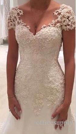 2018 등이없는 V 목 짧은 소매 진주 비즈 인 어 공주 웨딩 드레스 사용자 지정 만든 된 레이스 자 수 Appliques 인 어 신부 드레스