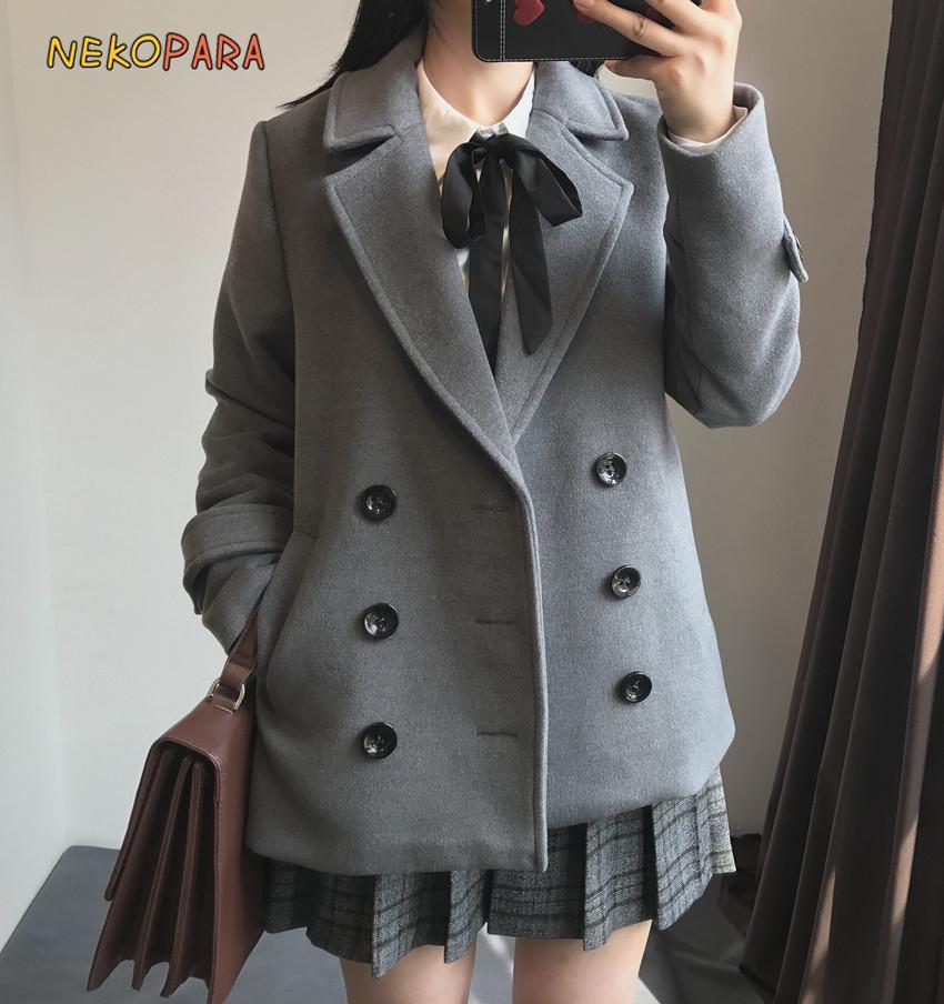 2019 Women S Jk School Uniform Suit Coat Wool Blend Trench Double