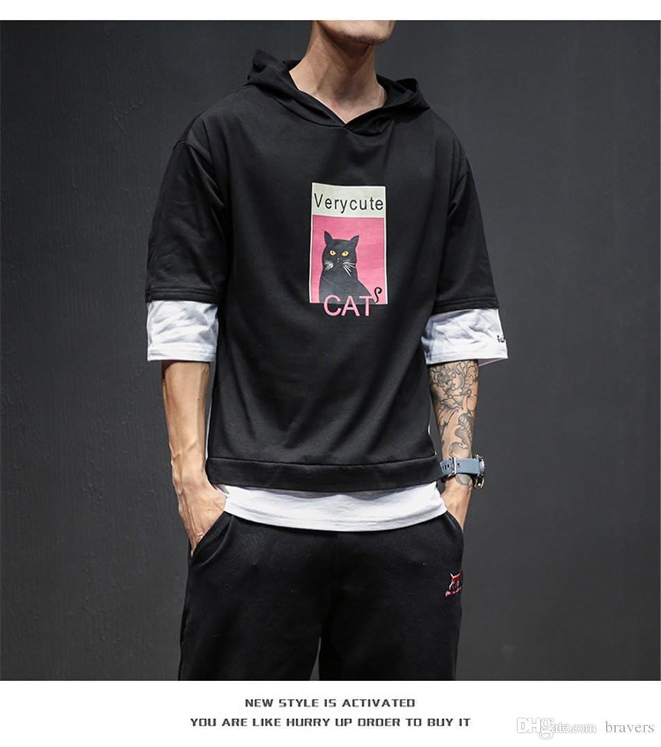 dd651c1a3ceb41 Großhandel 2018 Mode Mit Kapuze T Shirt Männer Neue Sommer Patchwork Print  Kurzarm Herren T Shirts Casual Slim Fit Hip Hop Top Tees Männer 5xl M3 202  Von ...