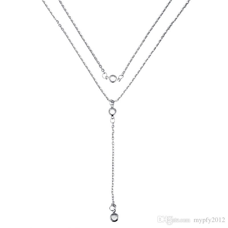 New Fashion Chunky Statement Chain Silver Gold Color Multi Layer Crystal Tassel Necklaces For Women HZ