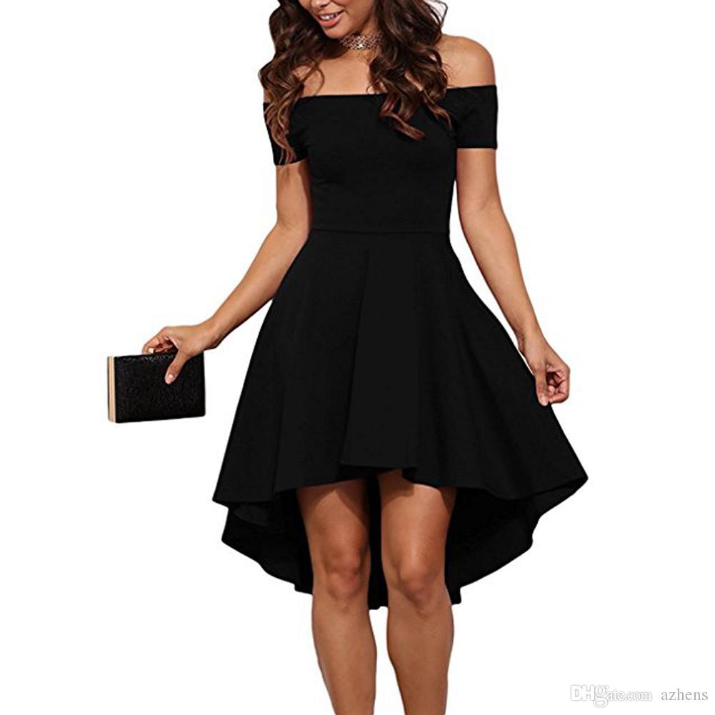2019 여름 여성 캐주얼 어깨 드레스 짧은 소매 높은 낮은 스케이팅 칵테일 파티 저녁 웨딩 드레스