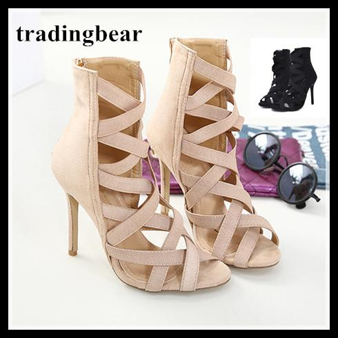 0dd7514162aa Sexy Black Elastic Band Strappy Open Toe High Heels Faux Suede Size ...