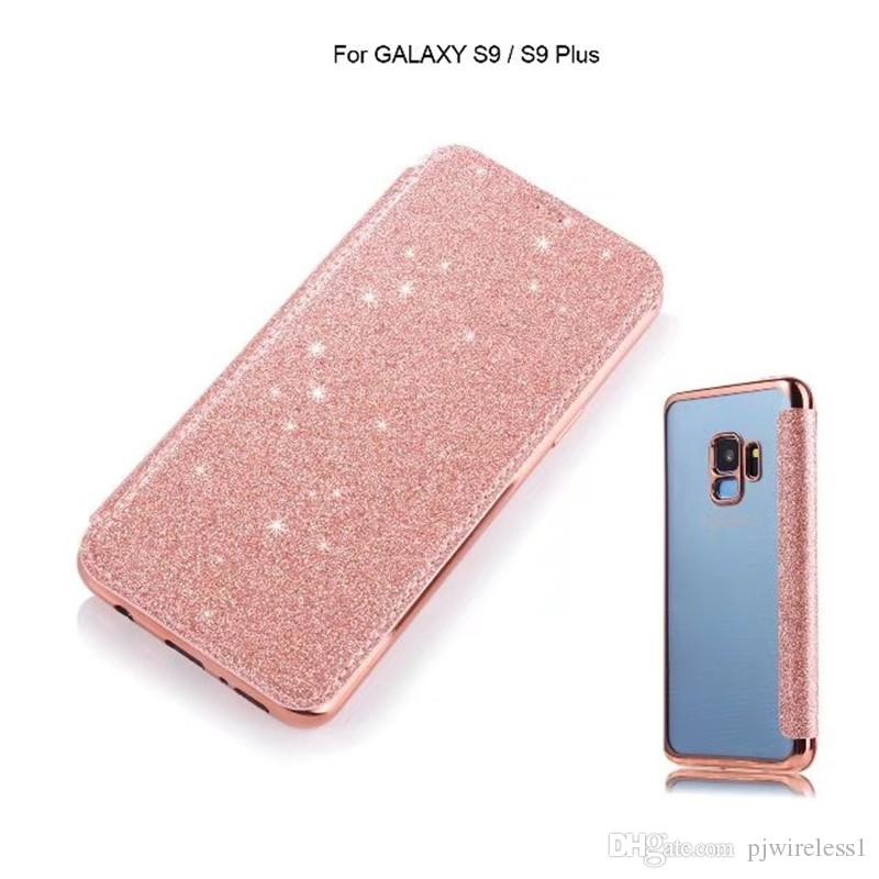 Electroplate Bling Glitter Soft TPU Cell Phone Case For samsung galaxy S9 PLUS Flip PU Leather Wallet Card Slot Cases Clear Cover C