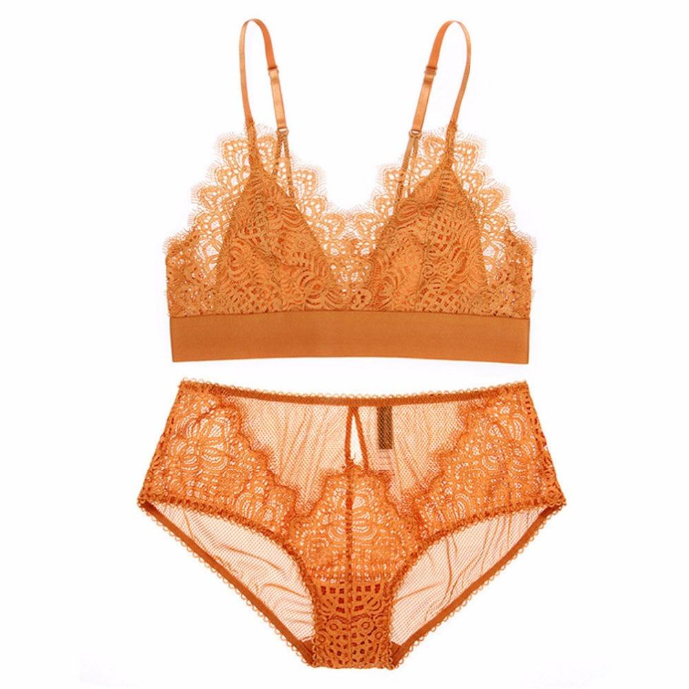c29b1b4abf 2019 2018 France New Lace VS Bra Set Floral Thin Cup Bralette Sexy Girls  Small Bra Lingerie Underwear Set Orange Brand Black Bras From Marryone
