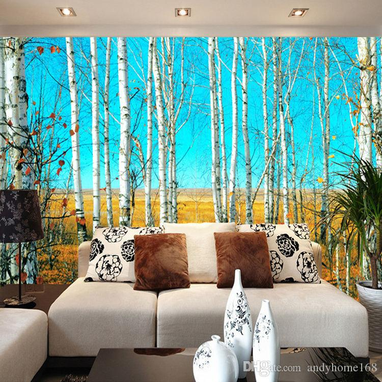 Custom Size Hd Birch Forest 3d Nature Landscape Photo Wallpaper Large Wall Painting Background Living Room Mural Wall Paper