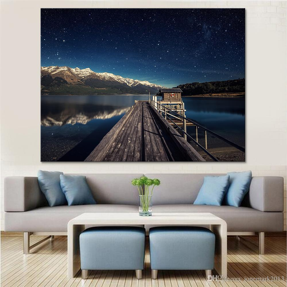 Canvas HD Prints Pictures Home Decor 1 Piece Lake Huts Landscape Poster Wooden Bridge Paintings Living Room Wall Art Framework