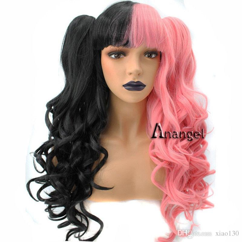 Top Anogol Melanie Martinez Cosplay Wig With Bangs Hair Long Wavy Pink #YW96