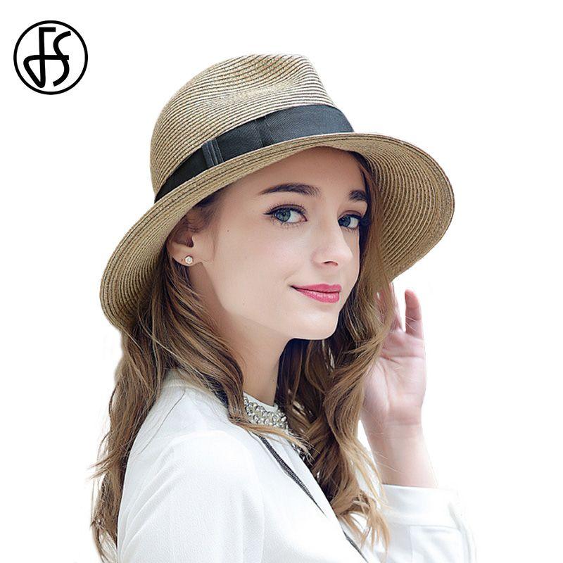 3061d81775f FS Summer Straw Sun Hat For Women 2017 Beach Sun Visor Trilby Panama Hats  Female Jazz Gangster Cap Casual Sunhat Sombreros Fedora Hats For Women Hat  Shop ...