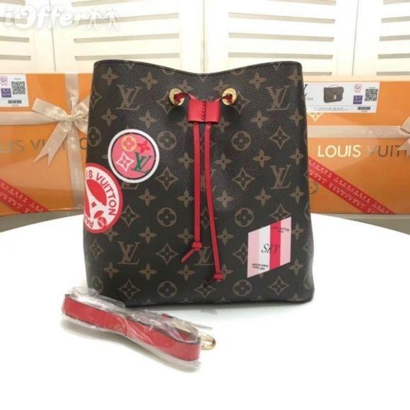 71d2b3513b03 M44020 NEONOE CANVAS WOMEN BUCKET CROSS BODY PURSE BAG RED Messenger  Shoulder Bags Crossbody HANDBAGS Totes Boston Bags Over The Shoulder Bags  Hobo Handbags ...