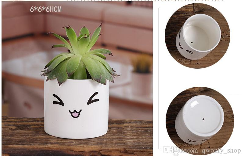 6 Arten Kreative Keramik Pflanzer Blumentopf Niedlichen Ausdruck Garten Sukkulenten Schreibtisch Blumentopf Garten Dekoration