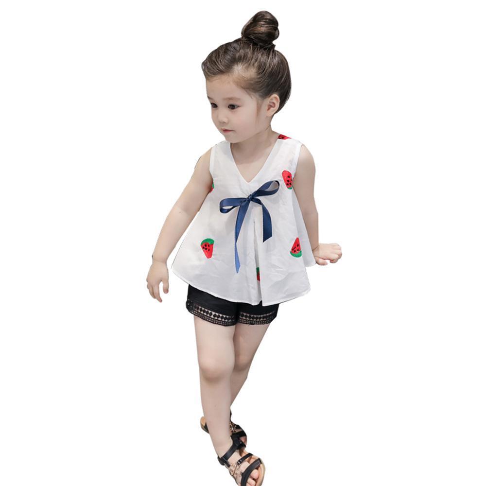 5822b11161326 Fashion Girls Clothing Set 2018 Summer Baby Girls Clothes White  strawberries Vest + Shorts Children Clothes 2 3 4 6 8 Years