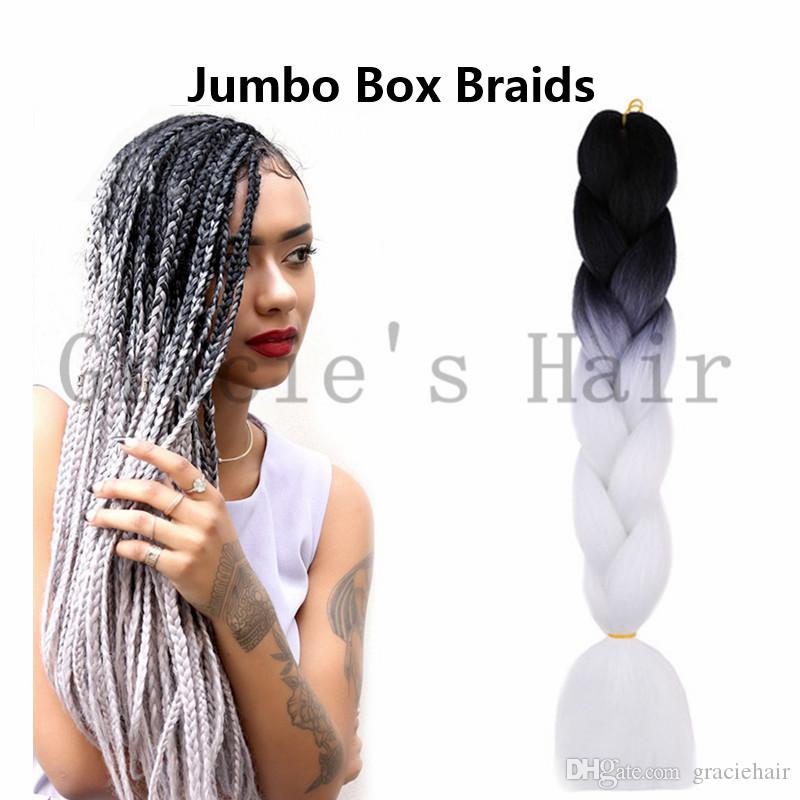 Synthetic Box Braids Hair Extensions 24inch 100gram Jumbo Box Braids