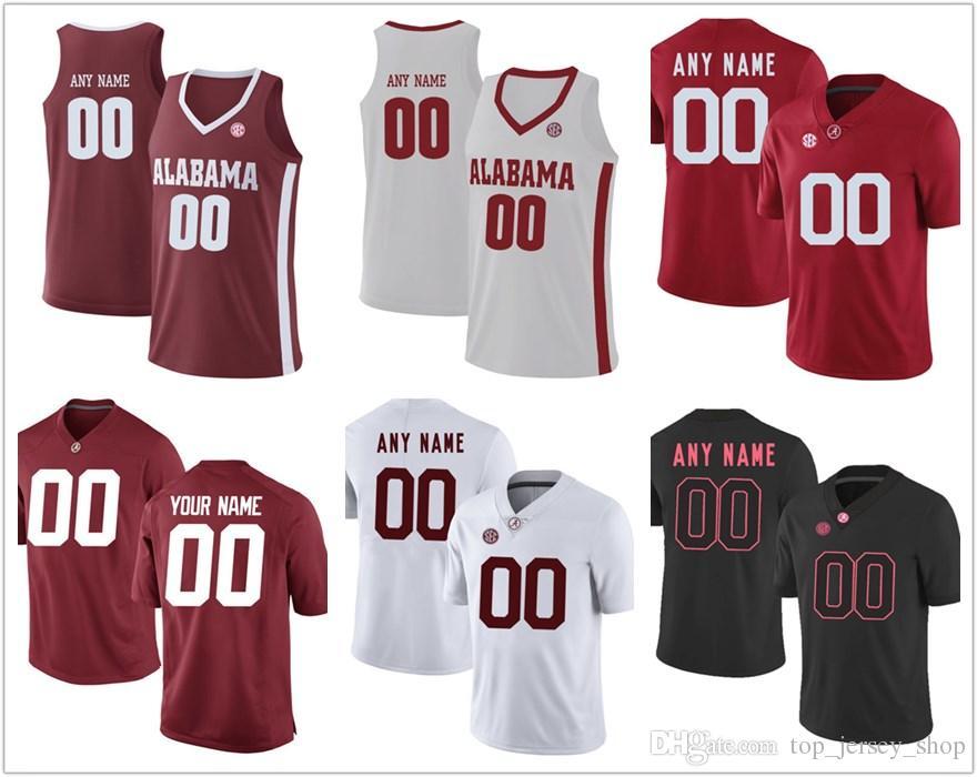new york 5fa01 a167b NEW 2018 NCAA Men Custom made Alabama Crimson Tide College football jerseys  #15 #16 Customized red white Black Stitched Basketball jerseys