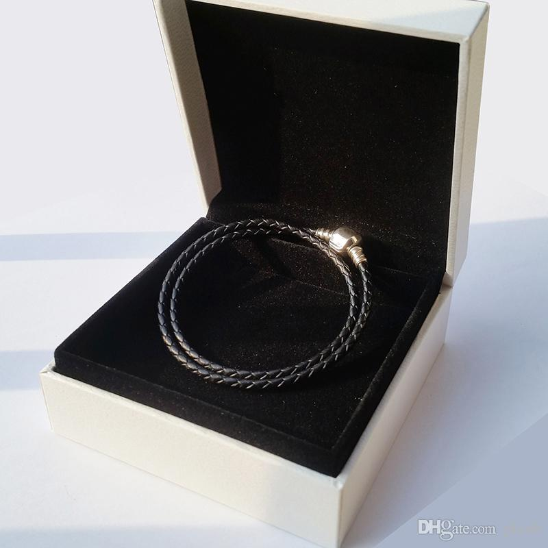 Moda Feminina 925 Sterling Silver Real Preto Camada Dupla Pulseira De Couro Fit Pandora Encantos Beads Jóias Homens Mens Bangle Bracelet