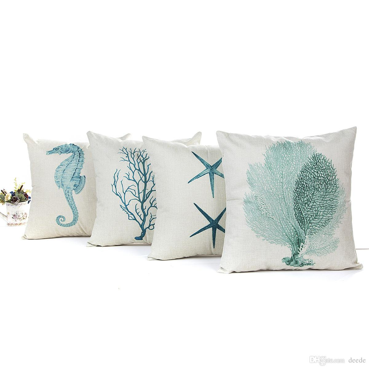 Bulk 4 Blue Sea Creature 45 45cm Linen Household Pillow Cushion