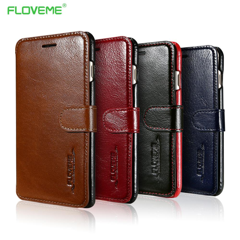 finest selection fe9f8 c764b Floveme Genuine Leather Phone Case For Iphone 7 7 Plus Book Case 6 6s Plus  Flip Card Slots Real Leather Cover For Iphone 7 Capa