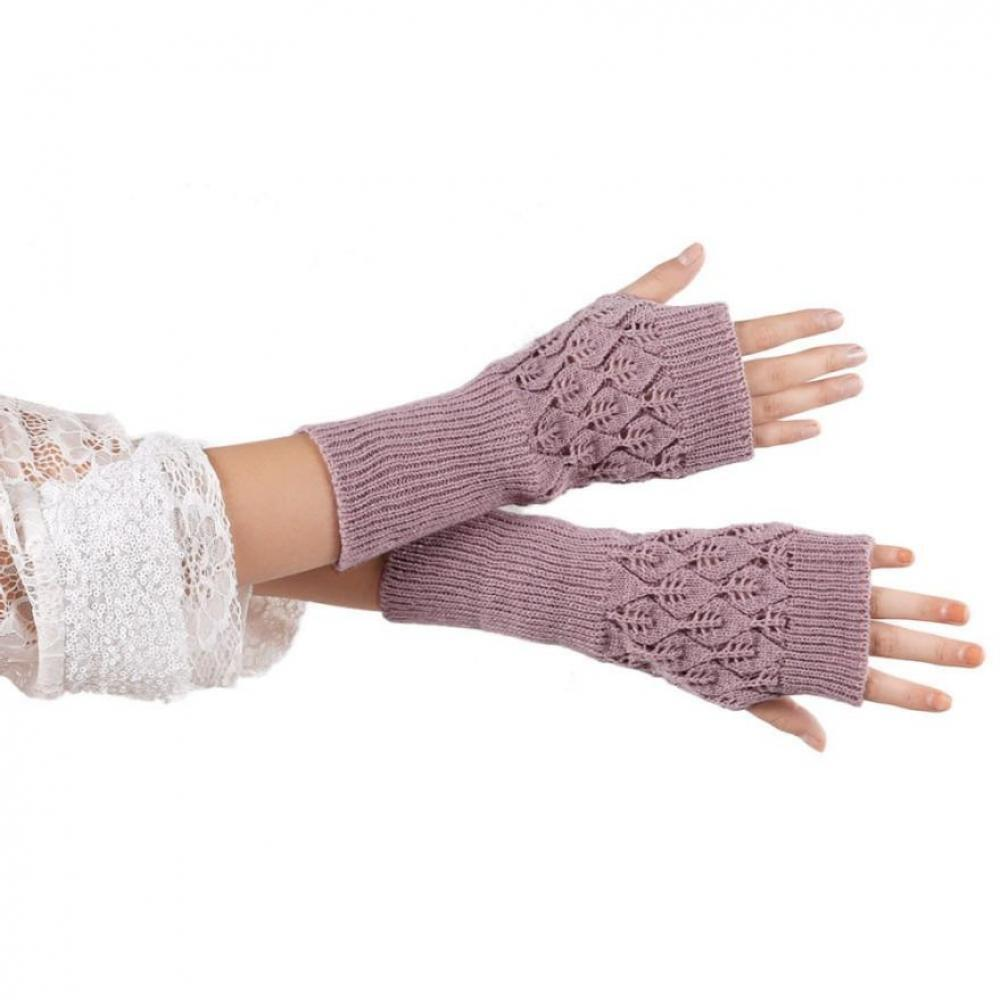 40579c5b77a4 2019 Knitted Arm Warmer Gloves Hollow Knitted Mitten Out Long ...