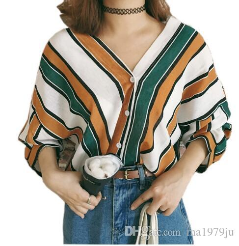 2018 Autumn New Fashion Multi-color Striped Shirts Sexy V-neck ... f00c97d0b
