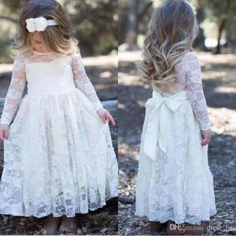 d548500ee72 Modest 2018 Flower Girl Dresses For Beach Wedding Jewel Neck Long Sleeves A  Line Ankle Length White Lace Girls First Holy Communion Dress Formal Girl  ...