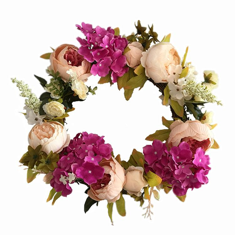 2019 Lot18 Inch Artificial Silk Peony And Hydrangea Wreath For