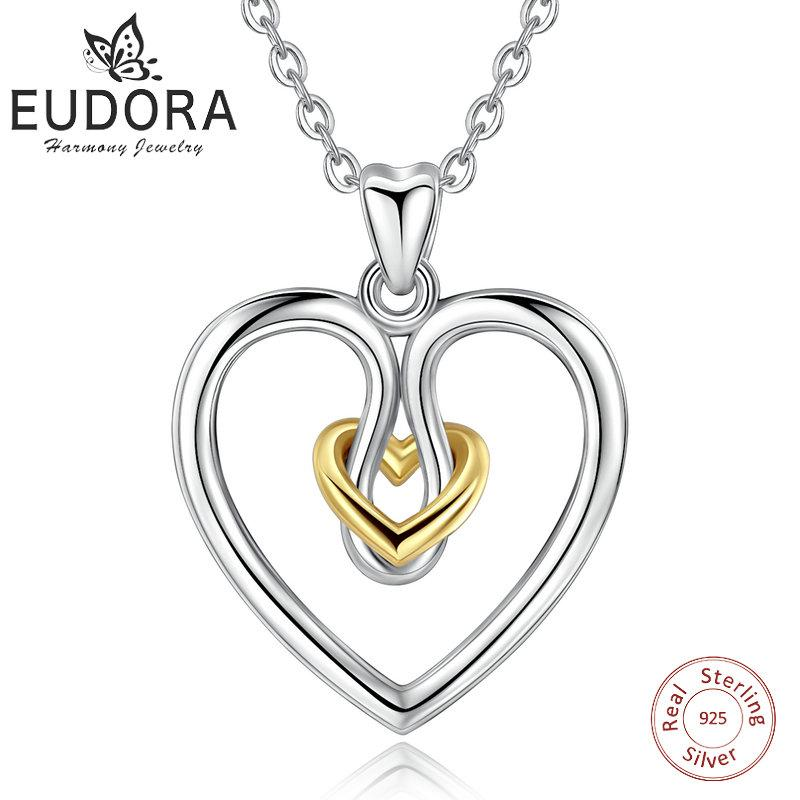 Wholesale EUDORA Unique 925 Sterling Silver Connected Double Heart Pendant Necklace For Women Fine Jewelry Girl Birthday Perfect Gift D256 Stone