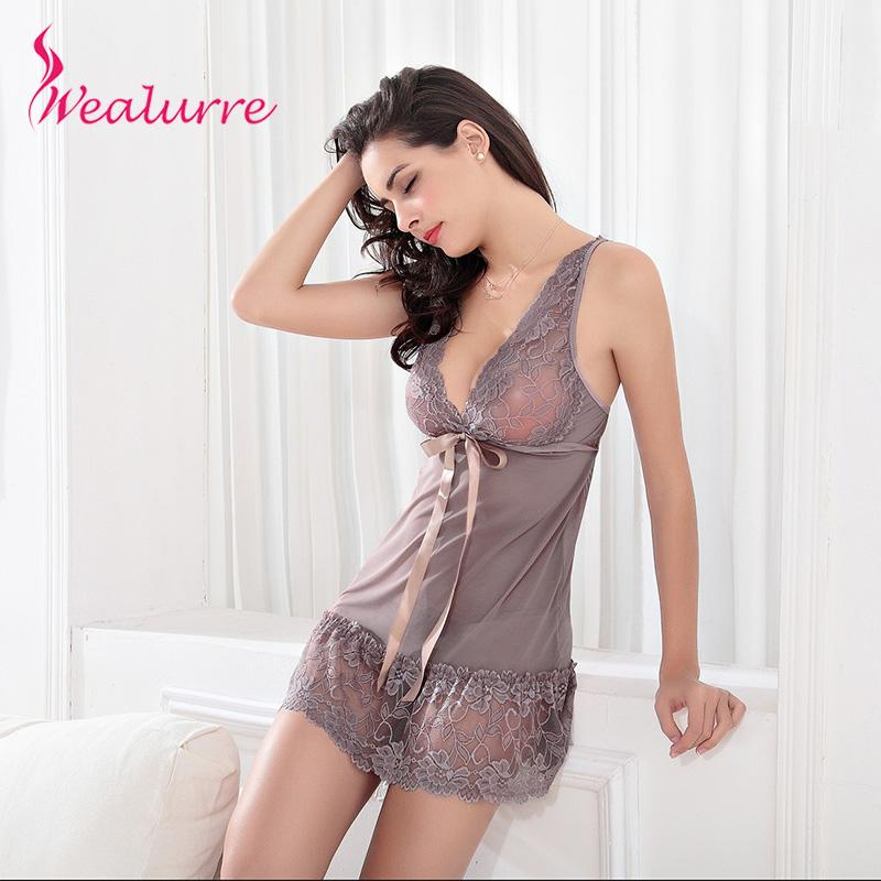 2018 2017 New Plus Size Lingerie Sexy Robe Hot Lace And Mesh Dress