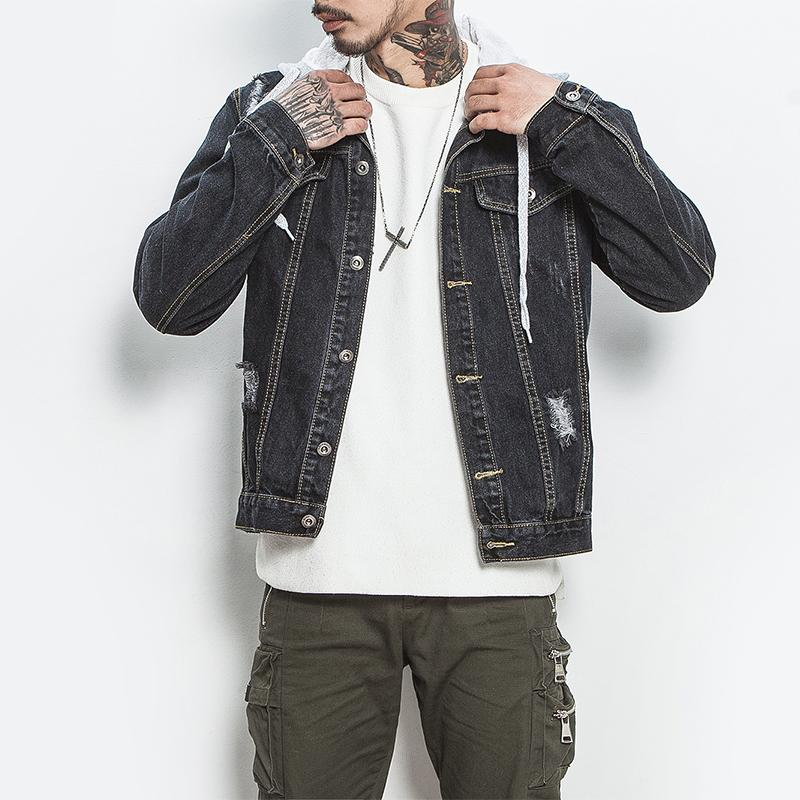 official photos ff81d a705b Jacket men hooded sportswear Outdoors Casual cowboy Black Jeans Jackets  Hoodies Men s Jacket Coat Plus Size 4XL 5XL