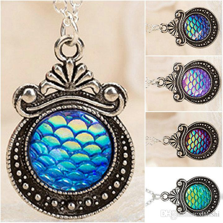 Free shipping Women's Fish/Dragon Scale Mermaid Bling Mirror Silver Vintage Flowers Gem Pendant Necklace for Drusy Lady Jewelry
