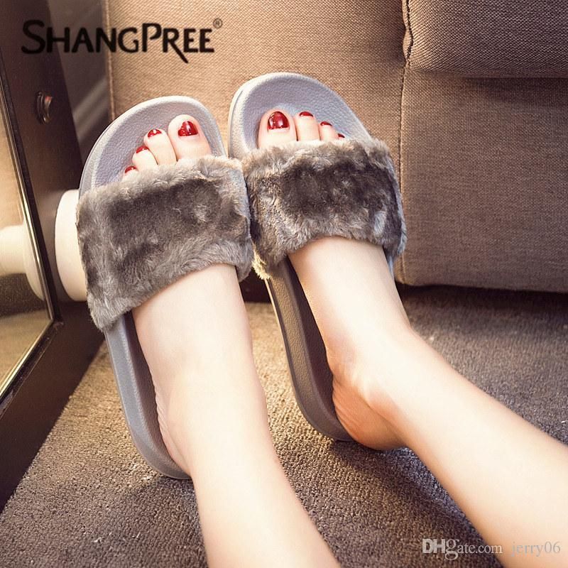 a7283fa6a11468 Large Size 36-41 Hot Women Slippers Fashion Spring Summer Autumn Plush  Slippers Women Faux Slides Flip Flops Flat Shoes Online with  5.43 Pair on  Jerry06 s ...