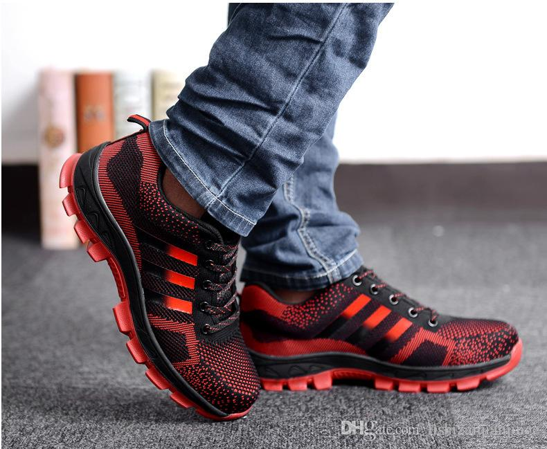 2ce98a96b87 Men's Fashion Safety Shoes Steel Toe Breathable Work Boots Hiking Climbing  Shoes