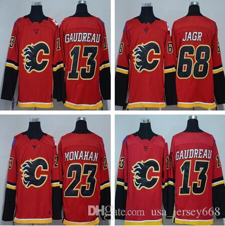 596d64530 Men s Calgary Flames Fanatics Branded Home Breakaway Jersey 13 Johnny  Gaudreau 23 Sean Monahan 68 Jaromir Jagr Jerseys Gaudreau Jersey Monahan  Jersey Jagr ...